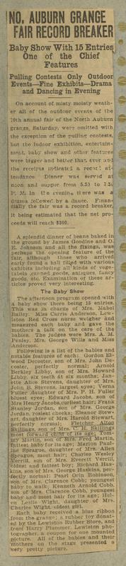 Newspaper clipping describing the success of the No. Auburn Grange Fair.
