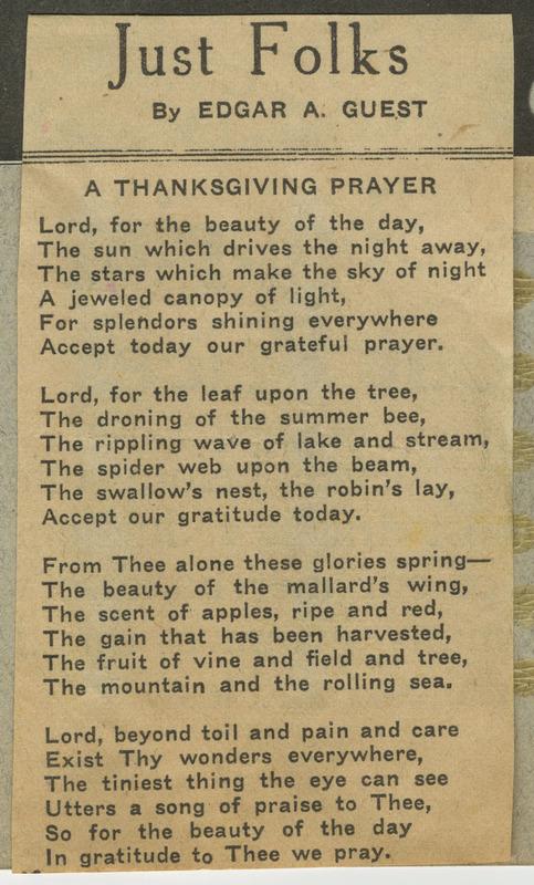 Subtitled a Thanksgiving Prayer, a 24-line poem.