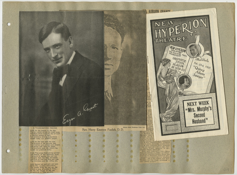 Page 69 of scrapbook. Contains newspaper clippings, portraits, and a theatre program