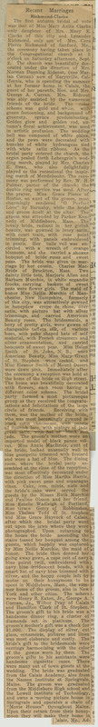 A newspaper clipping describing the wedding ceremony and reception of Mary Clarke and Lysander Richmond, which took place in Calais, ME. Unfolded extent: 47 by 7 cm.
