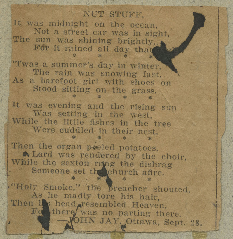 A newspaper clipping of a humorous poem, containing several oxymorons and plays on words.