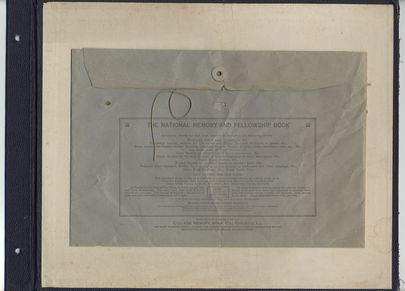 Page 77 of scrapbook. Contains large blue envelope with script